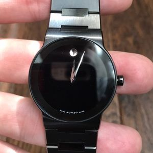 Movado Mens Black Stainless Steel Watch